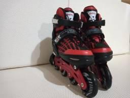 Patins Rollers Aluminium 500 Vermelho Bel Sports Tam 34/38