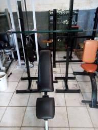 Kit musculação banco com 3 inclinações + suporte cavalete para Barra