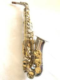 Sax alto Hoyden usado níquel chaves ouro.