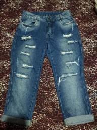 Calca jeans boyfriend destroyed Tam 44