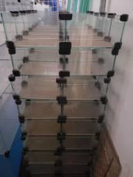 Pequenos Expositores de Vidro 2x5 para Comércio