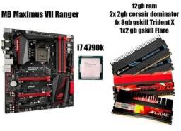 Kit placa mãe Asus maximus vii Ranger + i7 4970k + 12gb memória ram