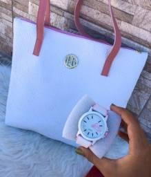 Combo bolsa e relógio