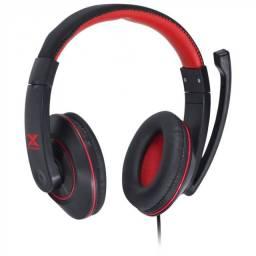 fone gamer vx v blade ii p2 estereo com mic preto com vermelho