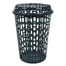 promoção cesto telado para roupas com tampa 60 litros preto - arqplast
