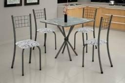 Título do anúncio: Mesa com 4 cadeiras com assento estofado NOVO (temos outros modelos e prod)