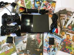 Playstation 2 Slim Destravado + 15 Jogos