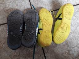 2 pares tenis futsal infantil pouco usado!Tamanho Adidas:33, Nike:35