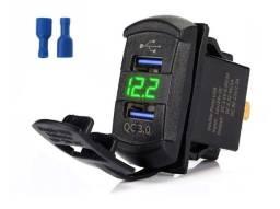 Carregador recarga bateria quick charge usb para veiculo painel console rack