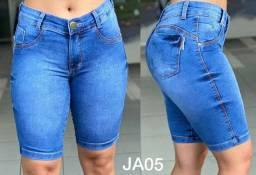 Bermuda Jeans Jump Ciclista. Cintura Alta. Com Elastano. Promoção Fabrica Goiânia