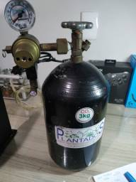 Cilindro CO2 3Kg + Regulador de pressão + Válvula Selonóide(110) + válvula de ajuste fino