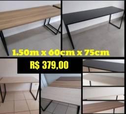 Mesa Escritório com Pés Metalicos Industrial 1,50 de Largura Novo