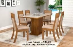 Conjunto de mesa com 6 cadeiras Firenza _ ENTREGA EM 24 HORAS !!!PAGUE NO ATO