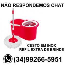 Entrega Grátis * Balde Mop com Cesto em Inox + Refil Extra * Chame no Whats