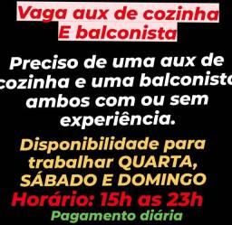 VAGA BALCONISTA E AUX DE COZINHA