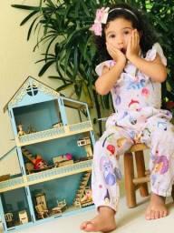 Casinha de boneca 60cm pintada com os móveis
