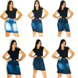 Saias Evangélicas Jeans com lycra Atacado Revenda kit 10 peças.