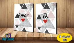 Quadros Decorativos Amor e Fe Medindo 20x30 Produzidos Em Alta Resolução