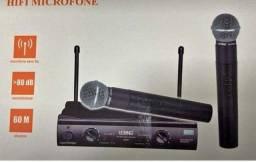 Microfone duplo sem fio UHF wireless