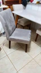 4 cadeiras de veludo pé de madeira ld