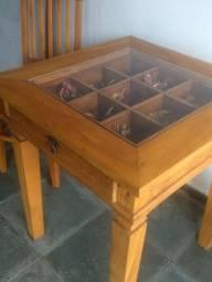 Linda mesa em Madeira Demolição + 2 cadeiras