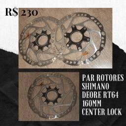 Par de Rotores de Disco de Freio Shimano Deore Rt64 160mm Center Lock