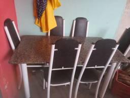 Mesa 6 cadeiras de marmore
