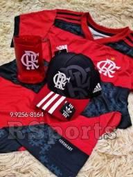 Kit camisa do Flamengo, boné e Caneca