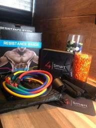 Kit de Elástico Extensor para exercícios de musculação e pilates