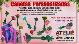 Canetas personalizadas com rosas em EVA