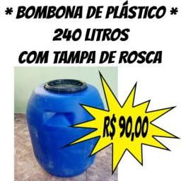 Bombona / Tonel / Tambor / Reservatório de Água Com Tampa 240 Litros