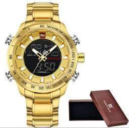 Relógio Dourado Digital e analógico NaviForce original