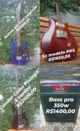 Guitarra,  pedaleira,  cubo, baixo