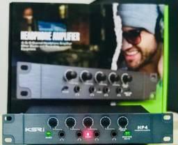 Amplificador De Fones Ksr Pro Hp4 alimenta até 4 fones de ouvido,volumes independentes