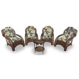 Conjunto De Poltronas Fibra Sintética Varanda Vime Cadeira
