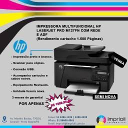 Impressora Multifuncional HP LaserJet Pro M127FN Com Rede e ADF