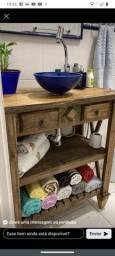 Gabinete banheiro de madeira maciça rústico
