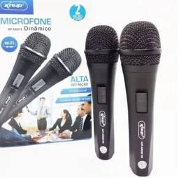 Microfone com FIO Duplo Dinamico Knup Kp-m0015<br><br>