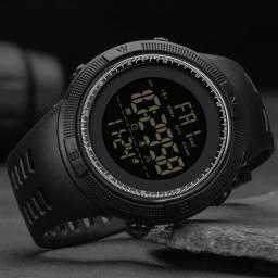 Relógio digital preto moda masculino cronometro à prova dwaterproof água esportivo led