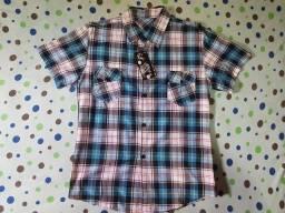 Camisa Polo Xadrez Azul Manga Curta P