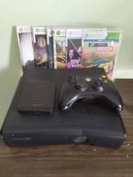 Xbox 360 com + HD externo com 151 jogos
