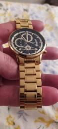 Relógio Nibosi luxo quartzo moda masculino, dourado e preto, prova dágua