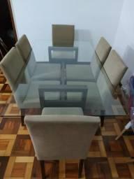 Mesa + 6 cadeiras (Seminova) Madeira Maciça