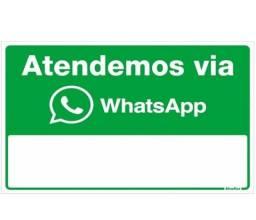 Título do anúncio: Placa Sinalizadora Auto-Adesiva Atendemos Via WhatsApp Alumínio 16X23cm Sinalize