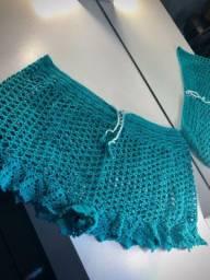 Shorts de praia de crochê
