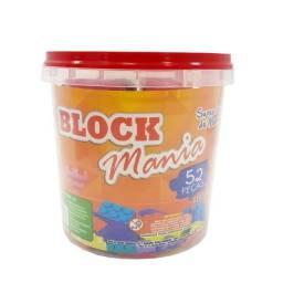 Balde com peças de montar Jogo Block Mania Balde com 52 peças