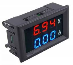 Voltímetro Amperímetro Digital Led Dc 10A Azul E 100 VCC Vermelho