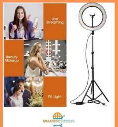 R$ 489 Iluminador Ring Light 14 Polegadas 35cm com Tripé de 2mt e suporte para Celular