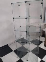 Expositor de vidro com 10 quadrado com 31x31x40 profundidade