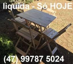 Cj Mesa com 2 ou 4 Cadeiras Dobráveis - Sem pintura - madeira maciça